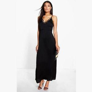 Boohoo Samara Satin Maxi Dress NWT